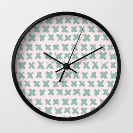 Contemporary X Paint Cross stich Pink Mint Pattern Wall Clock