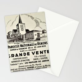 retro old paroisse nationale de renens poster Stationery Cards