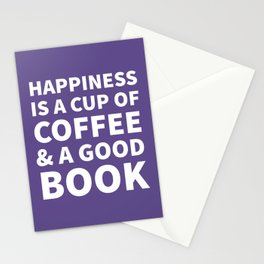 Happiness is a Cup of Coffee & a Good Book (Ultra Violet) Stationery Cards