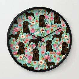 Boykin Spaniel custom dog breed floral pattern print by pet friendly dog art pet portraits Wall Clock
