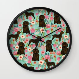Boykin Spaniel custom dog breed floral pattern print by pet friendly dog art pet portraits Wall Clock