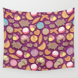 Mexican Sweet Bakery Frenzy // pink background // pastel colors pan dulce Wall Tapestry