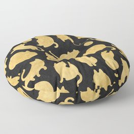 Gold on Black Kitty Pattern Floor Pillow