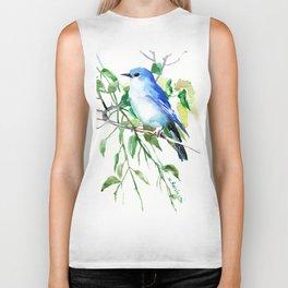 Mountain Bluebird, sky blue green bird artwork Biker Tank