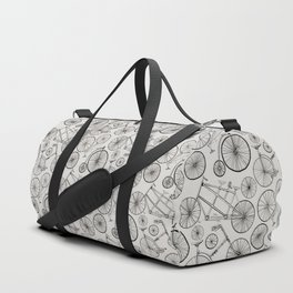 Monochrome Vintage Bicycles of Soft Grey Duffle Bag