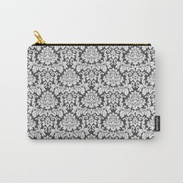 Vintage black white chic elegant floral damask Carry-All Pouch