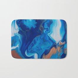 Fluid Nature - Blue Smoke - ABstract Acylic Pour Art Bath Mat