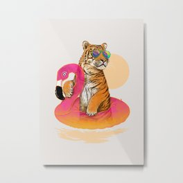 Chillin (Flamingo Tiger) Metal Print