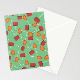 Fun digital Mexican paletas pattern green Stationery Cards