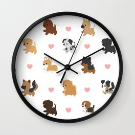 Dog Breeds with Hearts Wall Clock