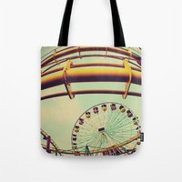 santa monica Tote Bags featuring Santa Monica by Nikole Lynn Photography
