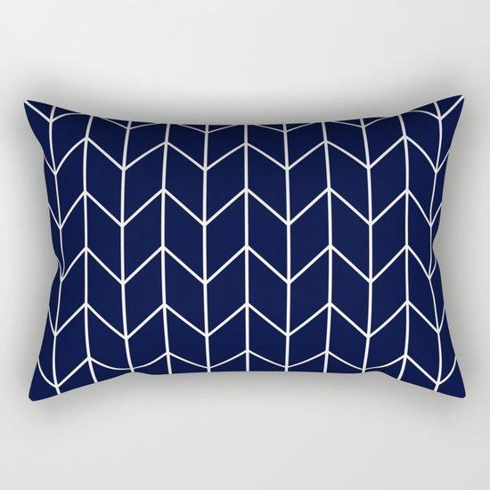 Chevron pattern -  white on darkblue Rectangular Pillow