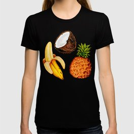 Tropical Banana Coconut Pineapple Pattern - Black T-shirt