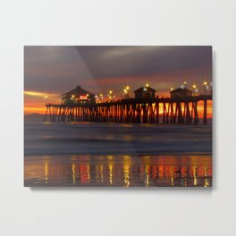 Starry Sundown * Huntington Beach Pier * California Metal Print