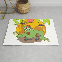"""Sloth Detailed Zombie Tee For Yourself? Awesome T-shirt """"Zombie Sloth No Need To Run"""" Design Rug"""
