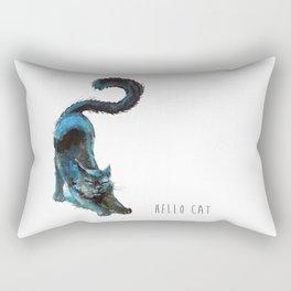 Black Blue Cat Stretching Drawing  Rectangular Pillow