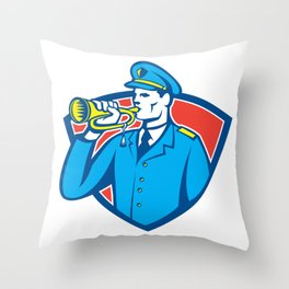 Soldier Blowing Bugle Crest Throw Pillow
