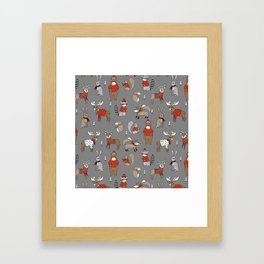 Christmas winter woodland animals foxes deer bunnies moose holiday cute design Framed Art Print