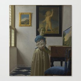 """Johannes Vermeer """"Lady Standing at a Virginal"""" Canvas Print"""