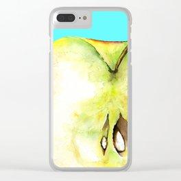 Apple on Aquamarine Clear iPhone Case