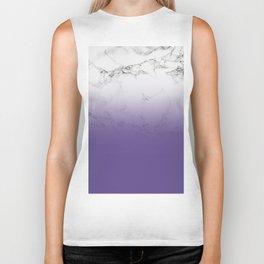 Modern white marble ultra violet purple ombre gradient Biker Tank