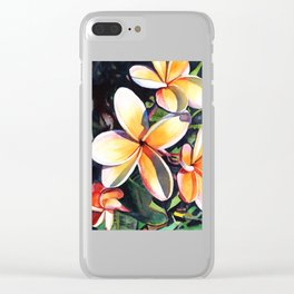 Kauai Rainbow Plumeria Clear iPhone Case