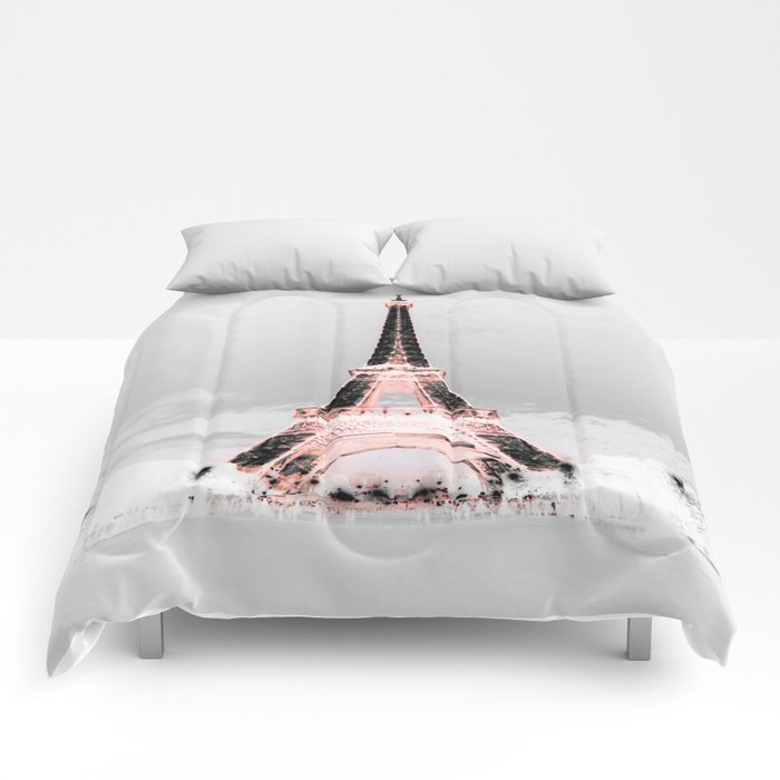 paris black white pink comforters by vintageby2sweet society6. Black Bedroom Furniture Sets. Home Design Ideas