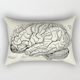 Vintage medical illustration of the human brain Rectangular Pillow