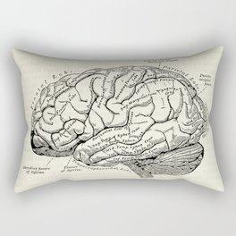 Vintage medical illustration of the human brain Rectangular Pillow