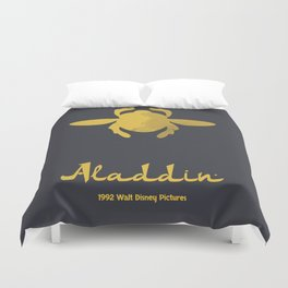 Aladdin, minimal movie poster, 1992 classic animated movie, Robin Williams, princess Jasmine, Jafar Duvet Cover