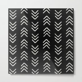 Charcoal & soft white brushed arrow heads, textured background Metal Print