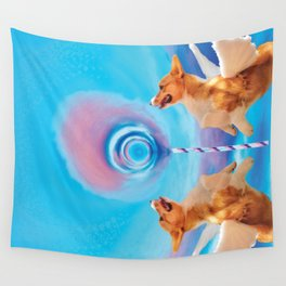 Giant pink cloud lollipop and a flying corgi Wall Tapestry