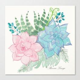 Pastel Succulent Watercolor Canvas Print