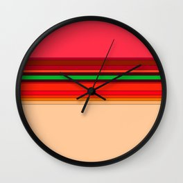 Follow the Lines (red) Wall Clock