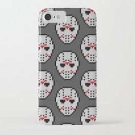 Knitted Jason hockey mask pattern iPhone Case