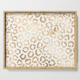 Elegant Gold White Leopard Cheetah Animal Print Serving Tray