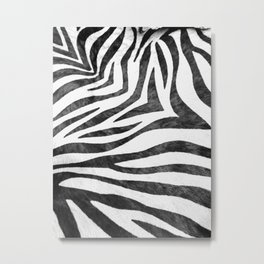 Realistic Zebra Print in Black and White Metal Print