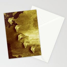 gold butterflies and abstract landscape Stationery Cards