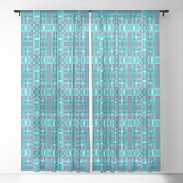 REFLECTION - bright china blue geometric squares pattern Sheer Curtain