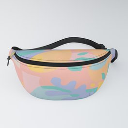 Lemons in Amalfi / Abstract shapes, Pink, Turquoise, Yellow, Lavender Fanny Pack