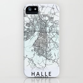Halle, Germany, White, City, Map iPhone Case