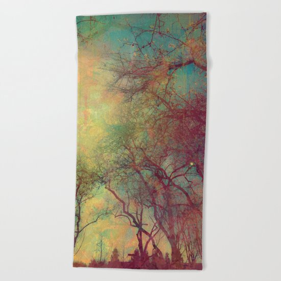 Tree Silhouette, Autumn Sunset Beach Towel