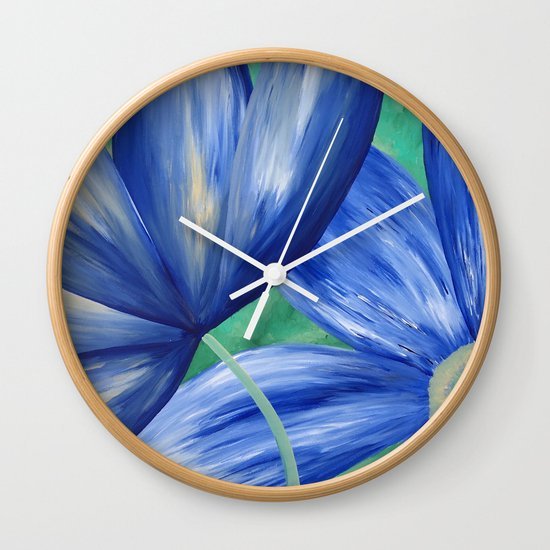 Large Blue Flowers Wall Clock