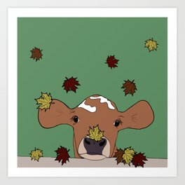 Bessie the Calf and Fall Leaves Art Print