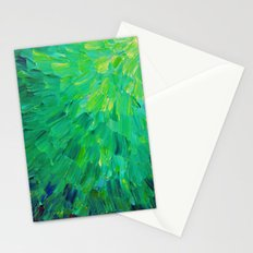 SEA SCALES in GREEN - Bright Green Ocean Waves Beach Mermaid Fins Scales Abstract Acrylic Painting Stationery Cards