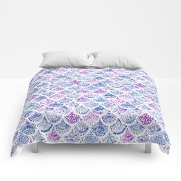 OCEAN PROTECTRESS Lavender Mermaid Scales Comforters