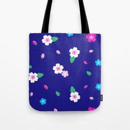 Cherry Blossom Garden - Deep Blue Tote Bag