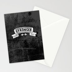 Stronger Every Day (dumbbell, black & white) Stationery Cards