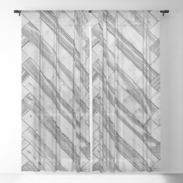 Vintage Diagonal Design //Black and White Wood Accent Decoration Hand Scraped Design Sheer Curtain