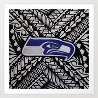 seahawks Art Prints featuring Seahawks poly style by Lonica Photography & Poly Designs